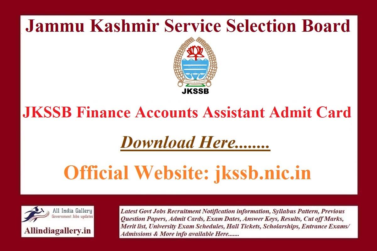 JKSSB Finance Accounts Assistant Admit Card