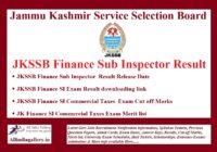 JKSSB Finance Sub Inspector Result