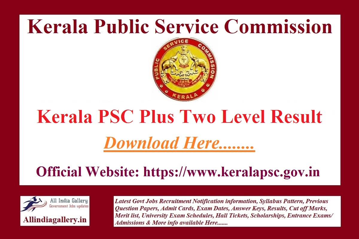Kerala PSC Plus Two Level Result