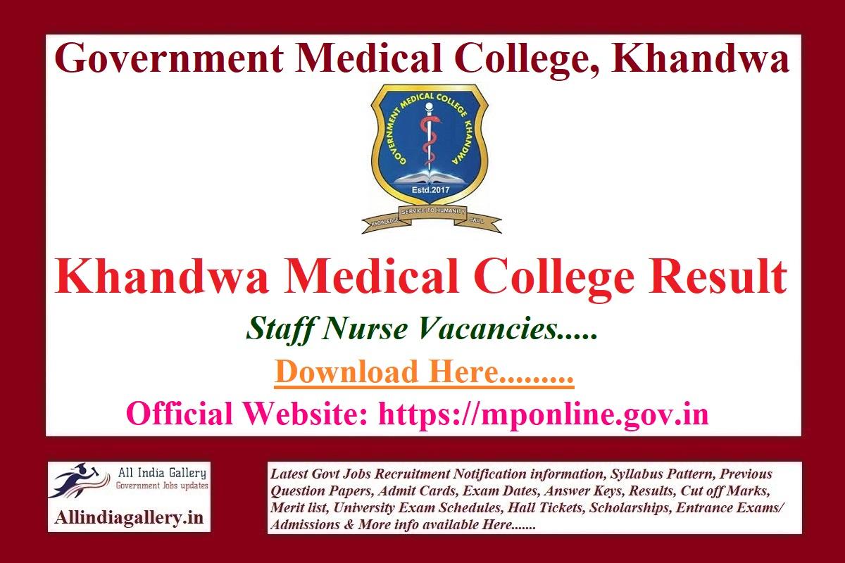 Khandwa Medical College Staff Nurse Result