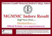 MGMMC Indore Staff Nurse Result