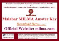 Malabar MILMA Answer Key
