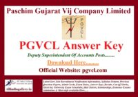 PGVCL Deputy Superintendent of Accounts Answer Key