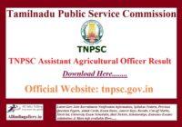 TNPSC Assistant Agricultural Officer AAO Result