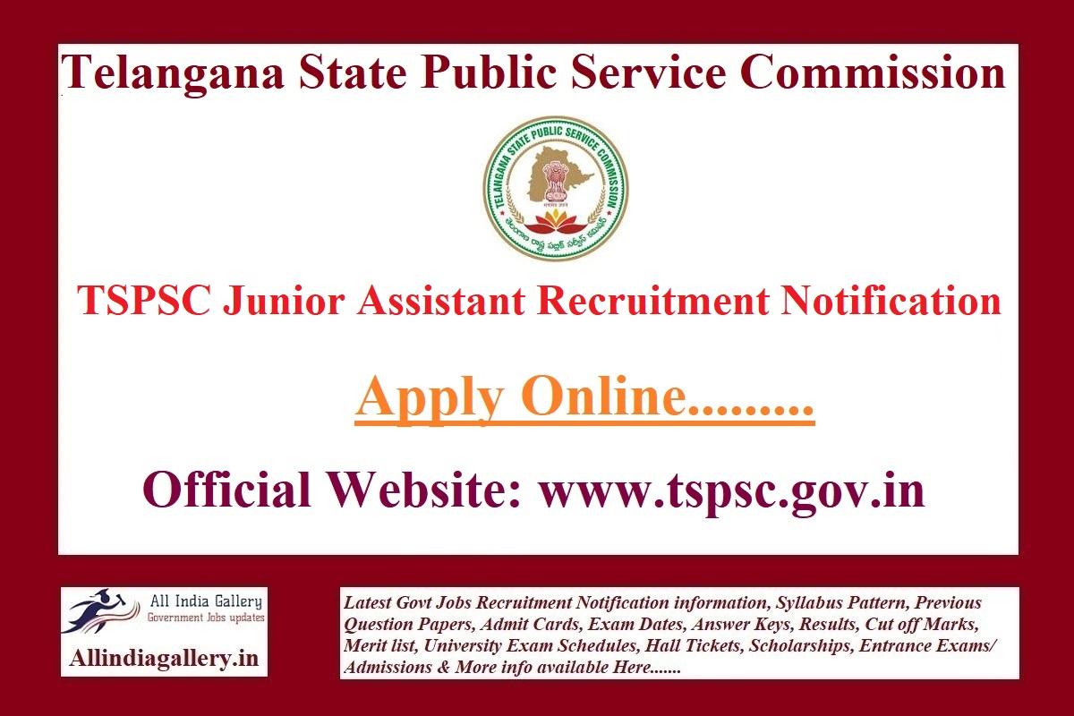 TSPSC Junior Assistant Recruitment Notification