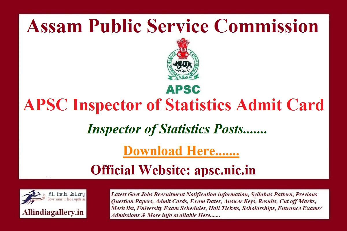 APSC Inspector of Statistics Admit Card