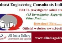 BECIL Investigator Admit Card