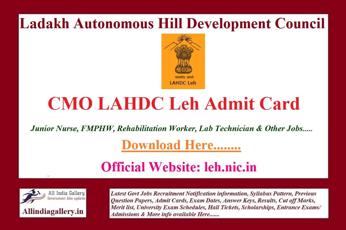 CMO LAHDC Leh Admit Card