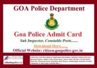 Goa Police Constable Admit Card