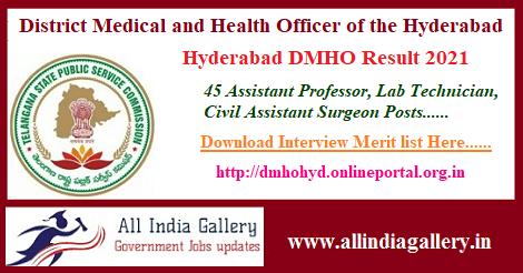 Hyderabad DMHO Result