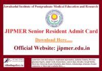 JIPMER Senior Resident Admit Card