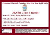 JKSSB Class 4 Result