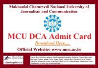 MCU DCA Admit Card