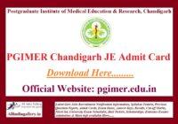 PGIMER Chandigarh JE Admit Card