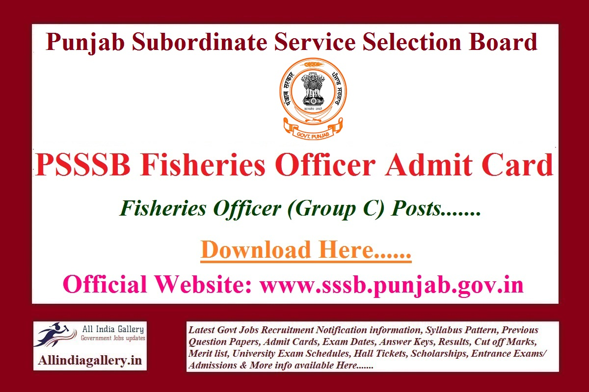 PSSSB Fishery Officer Admit Card 2021