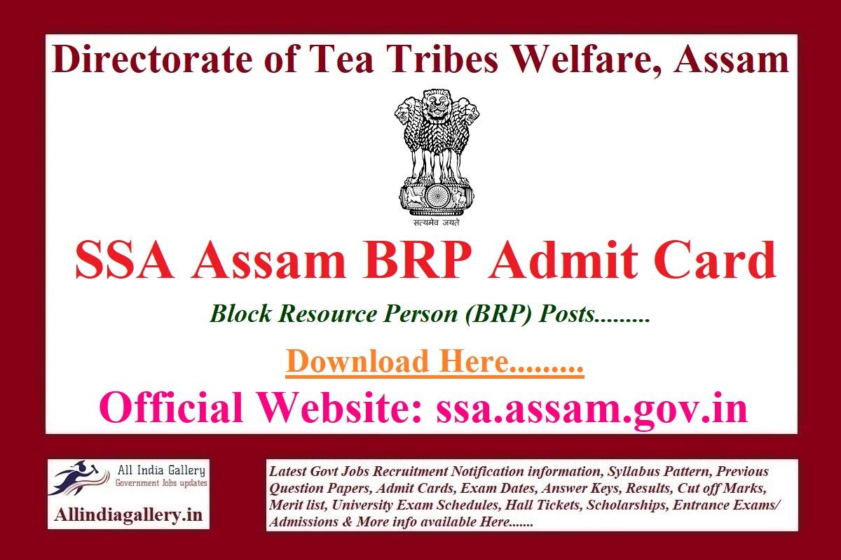 SSA Assam BRP Admit Card