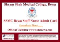 SSMC Rewa Staff Nurse Admit Card