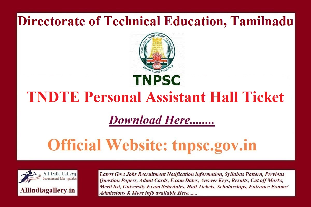 TNDTE Personal Assistant Hall Ticket