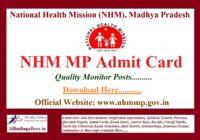 NHM MP District Quality Monitor Admit Card