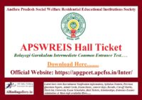 APSWREIS Hall Ticket