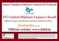 ITI Limited Diploma Engineer Result