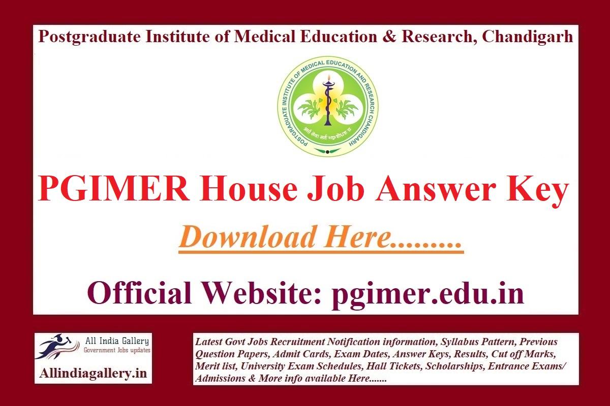 PGIMER House Job Answer Key
