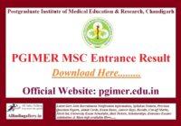 PGIMER MSC Entrance Result