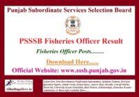 PSSSB Fisheries Officer Result