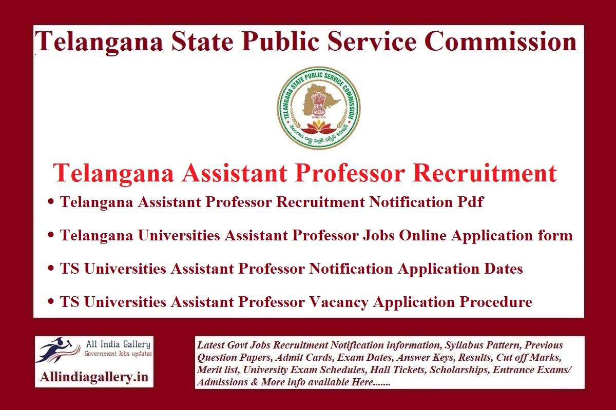 Telangana Assistant Professor Recruitment Notification
