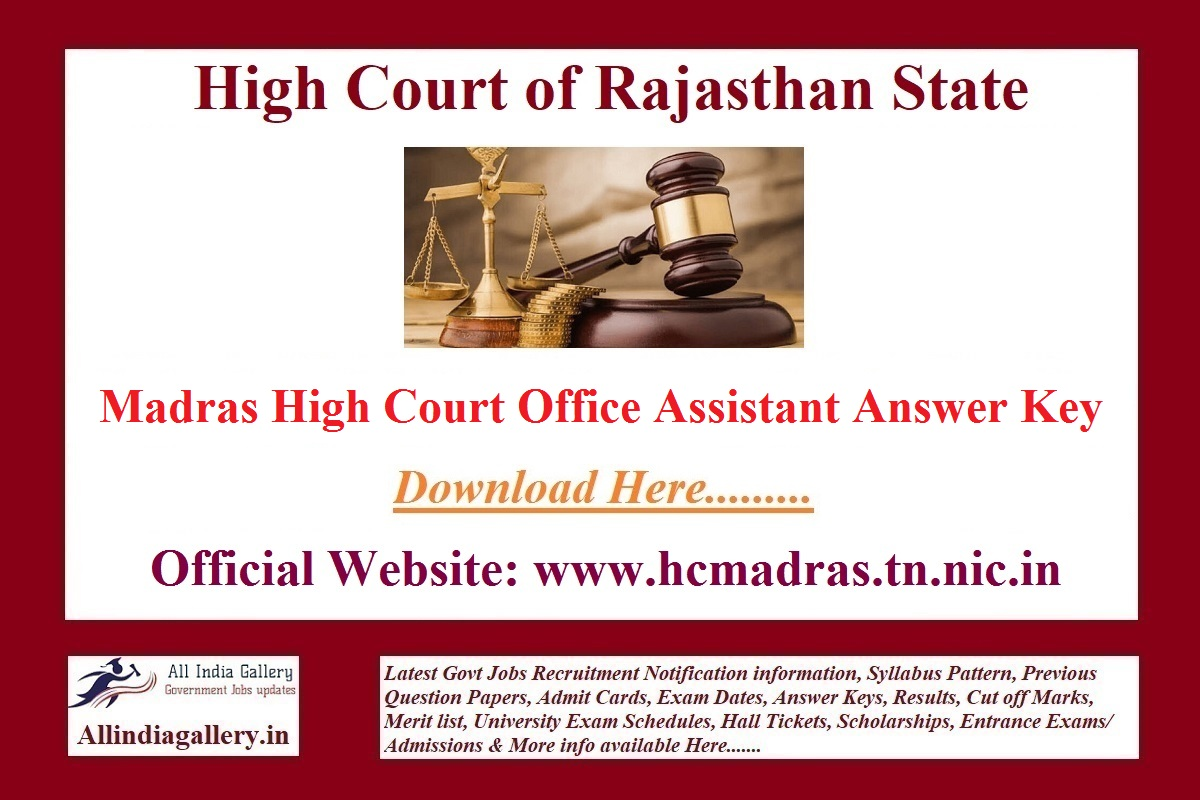 Madras High Court Office Assistant Answer Key