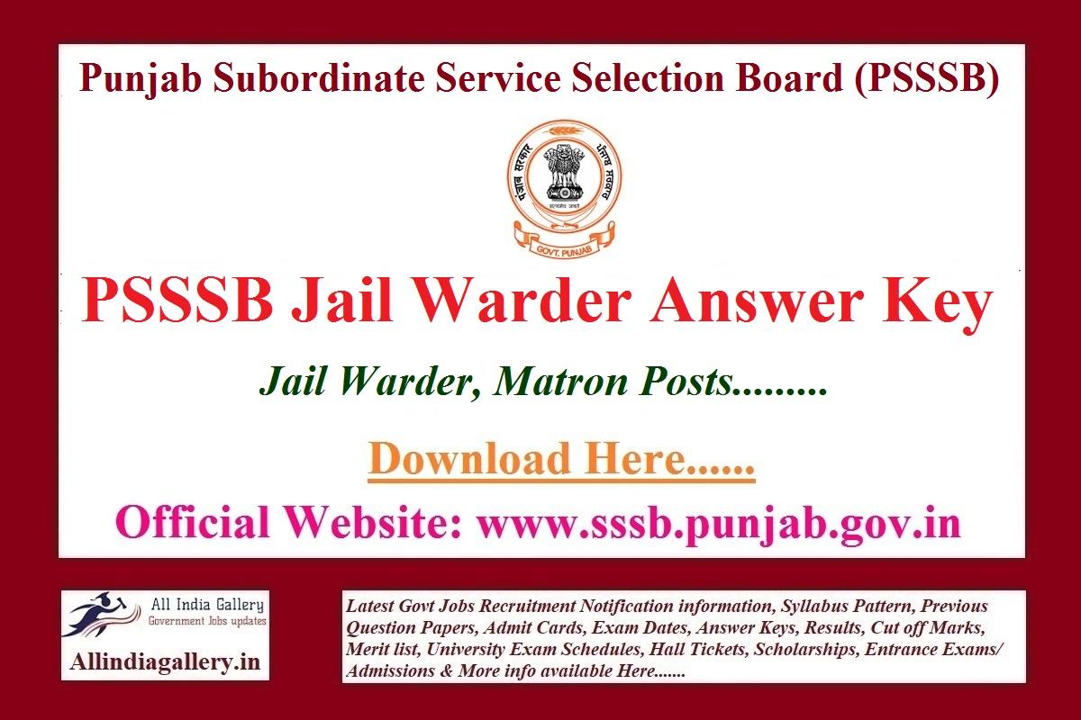 PSSSB Jail Warder Answer Key