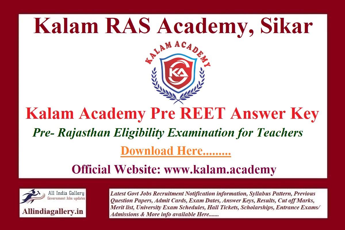 Kalam Academy Pre REET Answer Key