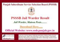 PSSSB Jail Warder Result