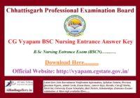 CG Vyapam BSC Nursing Entrance Answer Key