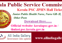 Kerala Junior Public Health Nurse Hall Ticket
