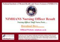 NIMHANS Nursing Officer Result
