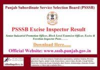 PSSSB Excise Inspector Result