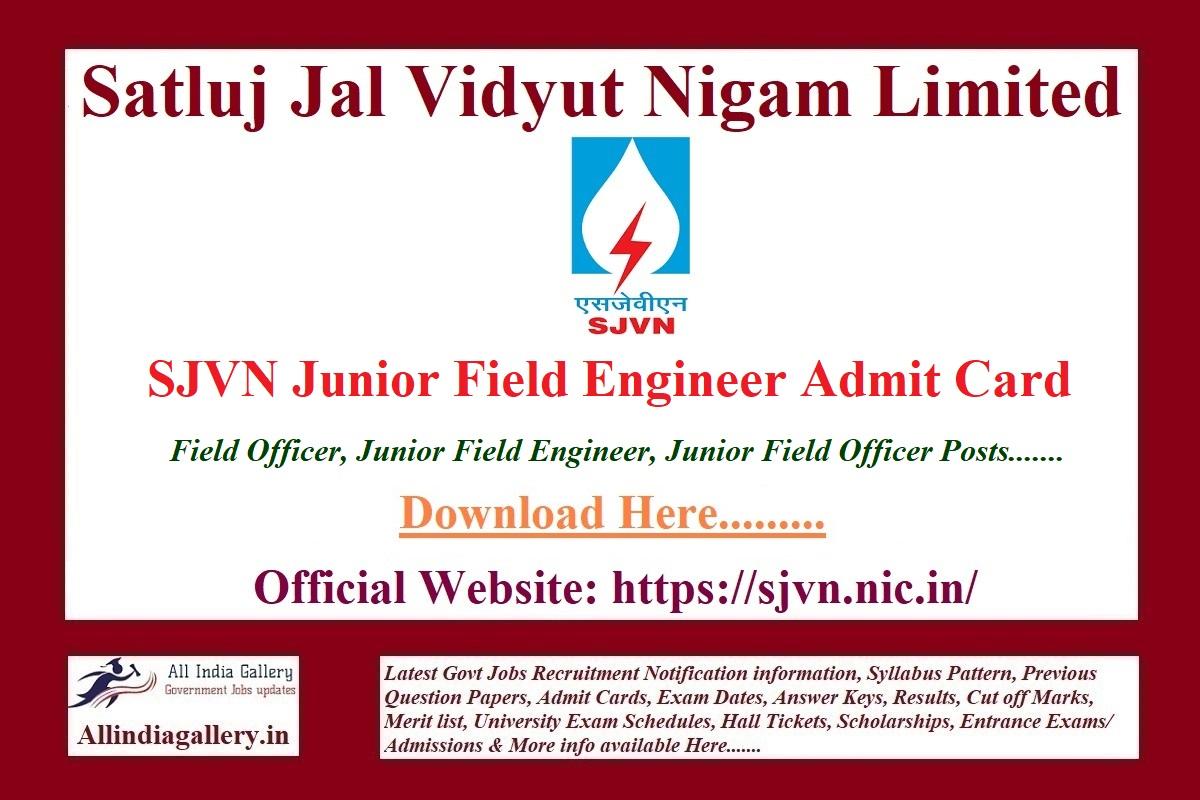 SJVN Junior Field Engineer Admit Card
