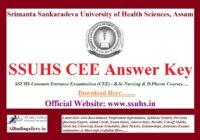 SSUHS CEE Answer Key