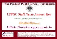 UPPSC Staff Nurse Answer Key Paper